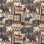PETERS CABIN WILDLIFE TAPESTRY FABRIC
