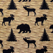 DENALI BLACK  WILDLIFE FABRIC